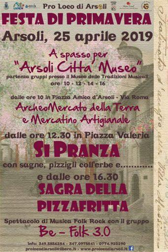 Festa di Primavera e Sagra della Pizzafritta 2019 ad Arsoli (RM) | Sagre nel Lazio