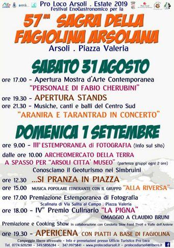 Sagra della Fagiolina 2019 ad Arsoli (RM) | Sagre nel Lazio